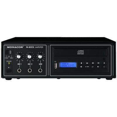 Monacor PA-802CD 100V-os keverőerősítő, beépített CD lejátszóval