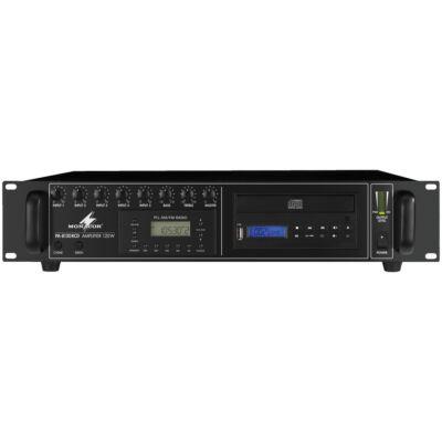 Monacor PA-8120RCD 100V-os keverőerősítő, beépített CD lejátszóval, rádióval
