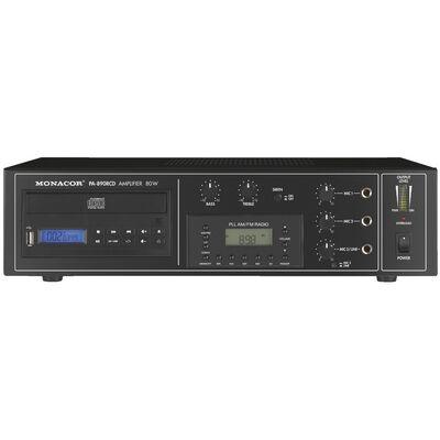 Monacor PA-890RCD 100V-os keverőerősítő, beépített CD lejátszóval, rádióval